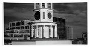 Halifax Town Clock 2017 Black  And White Beach Sheet