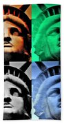 Lady Liberty In Quad Colors Beach Towel
