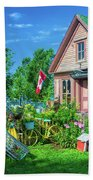 Scenic Garden And Antiques Store Beach Towel