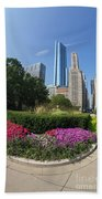 Summer Flowers In Bloom, Millennium Park, Chicago City Center, I Beach Towel