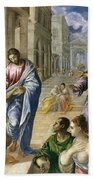 The Miracle Of Christ Healing The Blind  Beach Towel