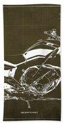 2016 Bmw K1600gt Blueprint, Original Motorcyclkes Blueprints, Bmw Artworks, Vintage Brown Background Beach Sheet