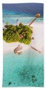 Aerial Drone View Of A Tropical Island, Maldives Beach Towel