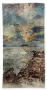 Digital Watercolor Painting Of Sunrise Over Rocky Coastline On M Beach Sheet