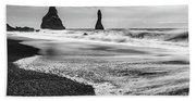 The Dramatic Black Sand Beach Of Reynisfjara. Beach Towel