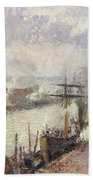Steamboats In The Port Of Rouen  Beach Towel