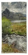 Digital Watercolor Painting Of Stunning Landscape Image Of Count Beach Towel