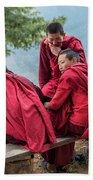 5 Monks On A Break Beach Sheet