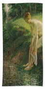 Bather In The Woods  Beach Towel