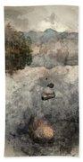 Digital Watercolor Painting Of Beautiful Autumn Fall Colorful Su Beach Sheet