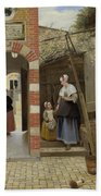 The Courtyard Of A House In Delft  Beach Towel
