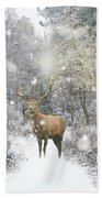 Beautiful Red Deer Stag In Snow Covered Festive Season Winter Fo Beach Towel