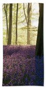 Stunning Bluebell Forest Landscape Image In Soft Sunlight In Spr Beach Sheet