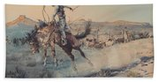 A Bucking Bronco, Edward Borein Beach Towel