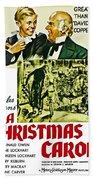 A Christmas Carol Movie Poster 1938 Beach Towel