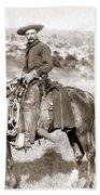 A Cowboy On Horseback, Photo, 19th Century Beach Towel