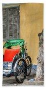 A Cyclo Driver Takes A Nap, In Hoi An, Vietnam. Beach Sheet