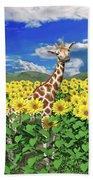 A Friendly Giraffe Hello Beach Towel