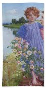 A Mother And Child By A River With Wild Roses 1919 Beach Towel