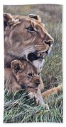 A Quiet Moment Lioness And Lion Cubs Beach Towel by Alan M Hunt