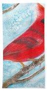 A Red Bird  Beach Towel