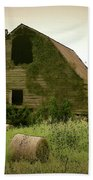 Abandoned Barn And Hay Roll 2018d Beach Towel