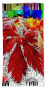 Abstract Fall Acer Stained Glass  Beach Towel