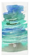 Abstract Fir Tree Christmas Watercolor Painting Beach Towel