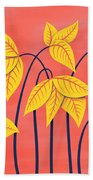 Abstract Flowers Geometric Art In Vibrant Coral And Yellow  Beach Towel
