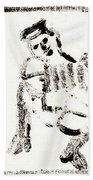 Accordion After Mikhail Larionov Black Ink Painting 1 Beach Towel