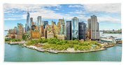 Aerial Panorama Of Downtown New York Skyline Beach Towel