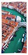 Aerial View Of Grand Canal And Rialto Bridge, Venice, Italy Beach Towel