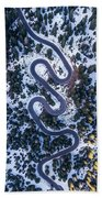 Aerial View Of Winding Mountain Road Through Forest Beach Towel