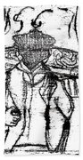 After Billy Childish Black Oil Drawing B2-5 Beach Towel