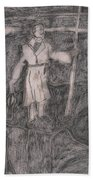 After Billy Childish Pencil Drawing 14 Beach Towel