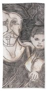 After Billy Childish Pencil Drawing 19 Beach Towel