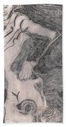 After Billy Childish Pencil Drawing 20 Beach Towel
