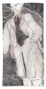 After Billy Childish Pencil Drawing 21 Beach Towel