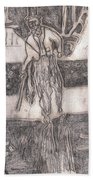 After Billy Childish Pencil Drawing 24 Beach Towel