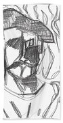 After Billy Childish Pencil Drawing B2-4 Beach Towel