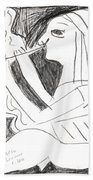 After Mikhail Larionov Pencil Drawing 1 Beach Towel