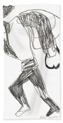 After Mikhail Larionov Pencil Drawing 12 Beach Towel