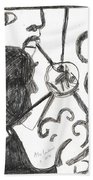 After Mikhail Larionov Pencil Drawing 13 Beach Towel