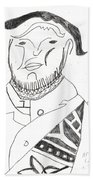 After Mikhail Larionov Pencil Drawing 2 Beach Towel