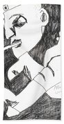 After Mikhail Larionov Pencil Drawing 4 Beach Towel