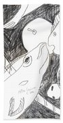 After Mikhail Larionov Pencil Drawing 6 Beach Towel