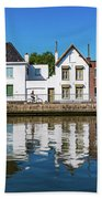 Along The Canal. Flanderenfietsroute.   Beach Towel