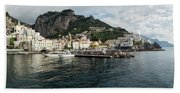 Amalfi Town Seen From Ferry Approaching Beach Towel