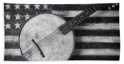 American Banjo Black And White Beach Sheet