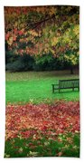 An Autumn Bench At Clyne Gardens Beach Towel